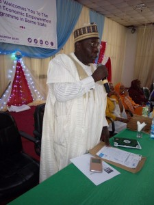The Representative of the Secretary to the State Government, Alhaji Bunu Mongunu, delivering the Borno State Government's address